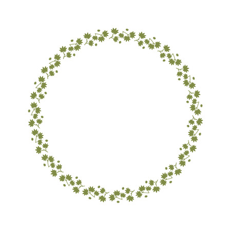 Seamless Pattern Wreaths with green leave spring. floral frame background.