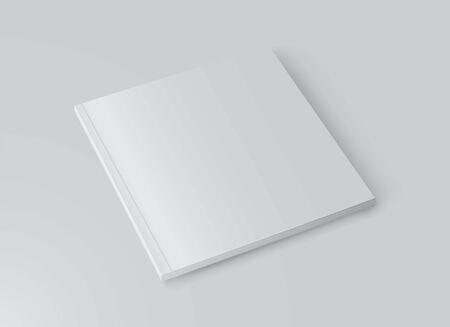 Fondo de plantilla de maqueta de libro blanco realista. Portada en blanco de la revista. Ilustración de vector.