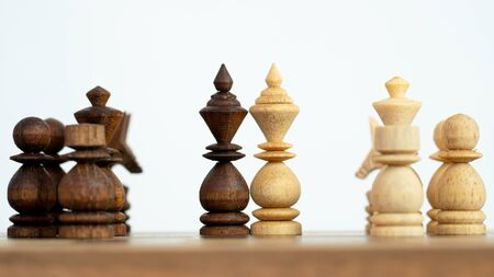 Business leader and battle concept with chess wooden.