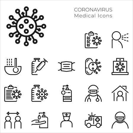 Set Icons Medical and Coronavirus. Vector thin line icon illustration