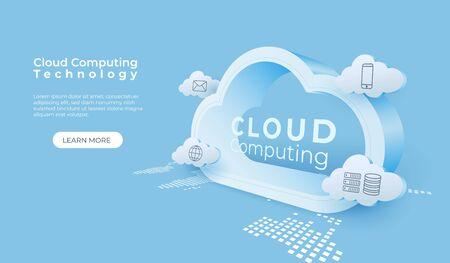 Cloud computing technology background. Digital online service. 3d cloud perspective vector illustration.
