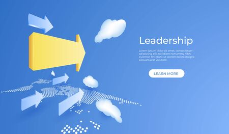 Business leadership concept with yellow arrow on blue sky background. 3d perspective vector illustration.