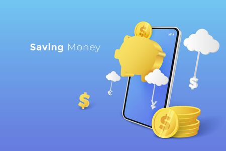 Savings money and investing concept. Coin in goal piggy bank with smartphone. vector illustration