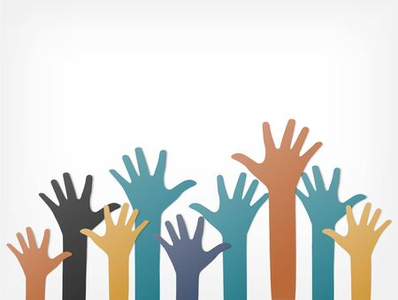 Colorful up hands. Raised hands volunteering. team work concept. paper art and craft style.