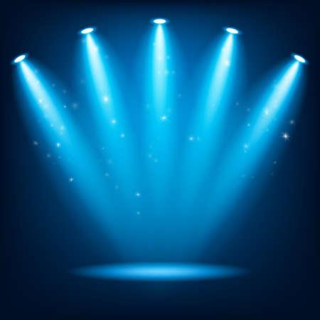 Lights awards stage ceremony with round winner podium. Spotlights illuminate. Vector illustration.