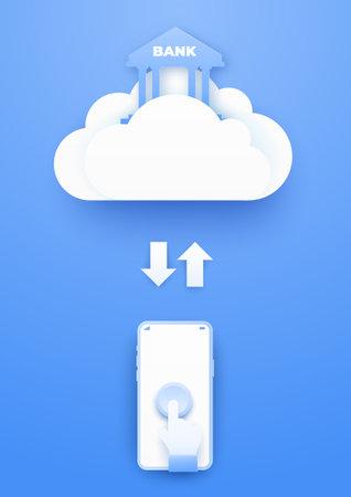 3D Cloud computing mobile finance banking online service. Digital business technology background. Vector paper art illustration