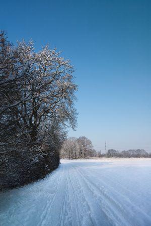Empty road in tranquill winter scene