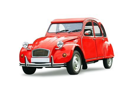 French red Citroen 2 cv isolated on white Stock Photo