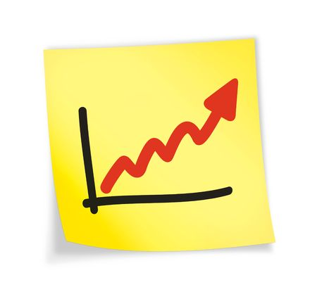 Yellow sticky note &quot,chart&quot, 3d illustration