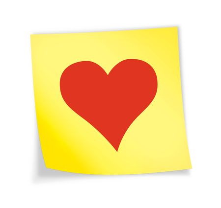 Yellow sticky note &quot,heart&quot, 3d illustration
