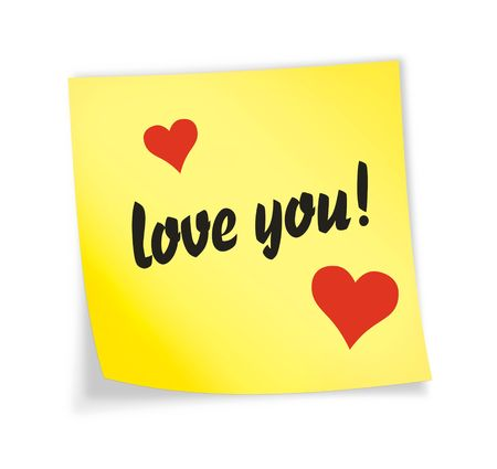 message pad: Yellow sticky note &quot,love&quot, 3d illustration