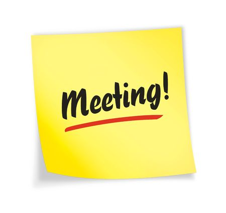 quot: Yellow sticky note &quot,meeting&quot, 3d illustration