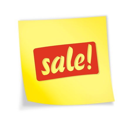 Yellow sticky note &quot,sale&quot, 3d illustration Stock Photo