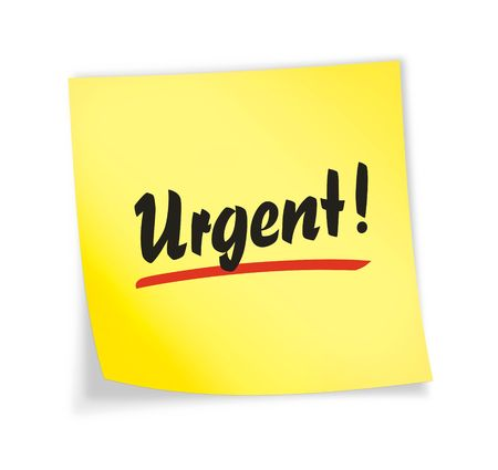 Yellow sticky note &quot,urgent&quot, 3d illustration