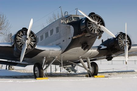 civilian: The Junkers Ju 52 was used as an civilian airliner and military aircraft manufactured between 1932 and 1945 by Junkers corporation Stock Photo