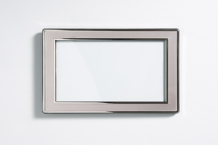 Silver picture frame with dropshadow, isolated on white