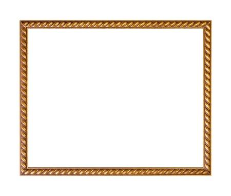 Golden ornately picture frame, isolated on white