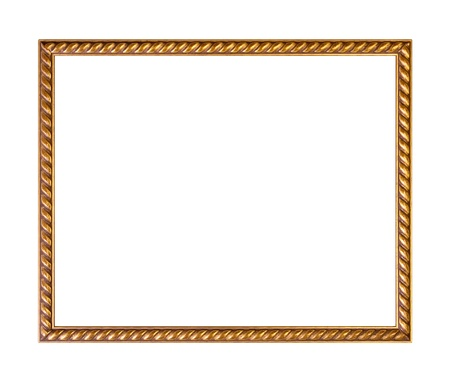 gold picture frame: Golden ornately picture frame, isolated on white