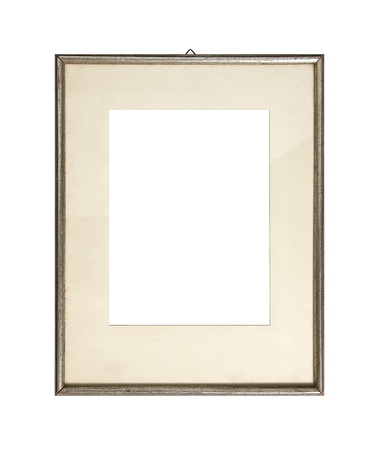 Old silver picture frame, isolated on white