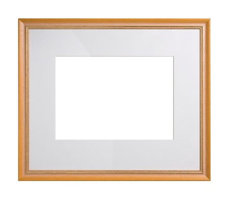 Wooden picture frame with passe-partout, isolated on white