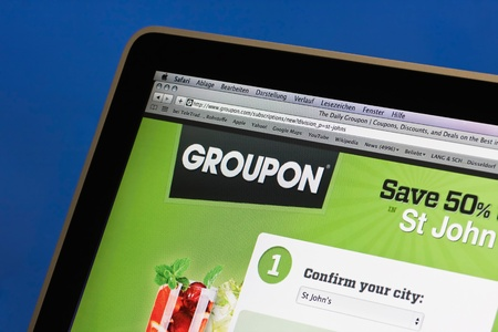 Münster, Germany on February 27, 2011. The website groupon.com is displayed on a computer screen. groupon.com is on of the biggest coupon website for city deals in the world.