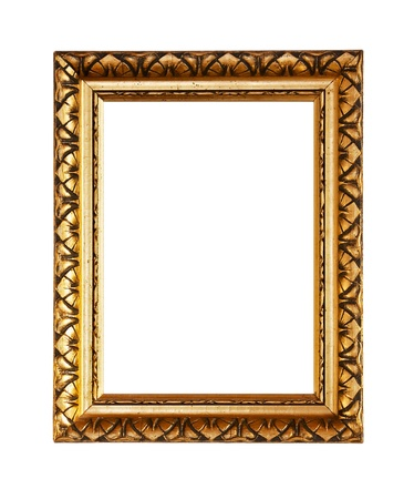 Golden ornately picture frame, isolated on white Stock Photo - 9009946