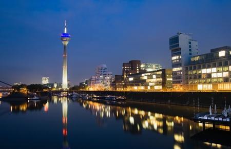 Night scene of the Media harbour in Düsseldorf, Germany