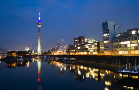 modernity: Night scene of the Media harbour in Düsseldorf, Germany
