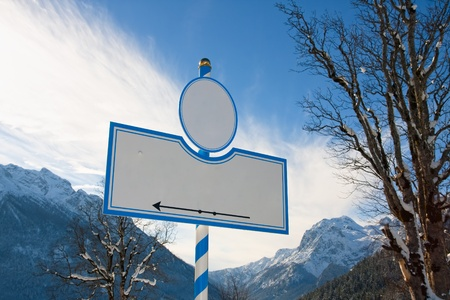 Bavarian sign with the moutains reiteralpe and hochkalter, Bavaria, Germany