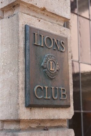 Fulda, Germany - April 24, 2011: Sign of the Lions Club in Fulda. Lions Club International is an exclusive business club.