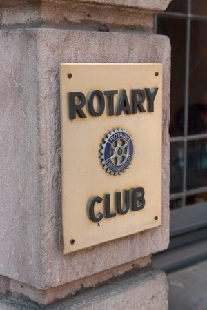 Fulda, Germany - April 24, 2011: Sign of the Rotary Club in Fulda. Rotary International is an exclusive business club with over 1.2 million members worldwide.  Editorial