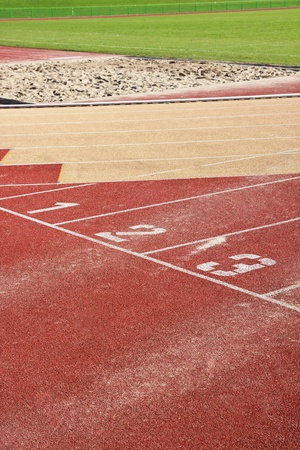 Running track lines with starting numbers photo