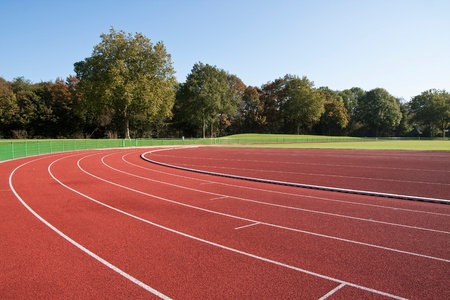 jogging track: Running track lines on a sunny day Stock Photo