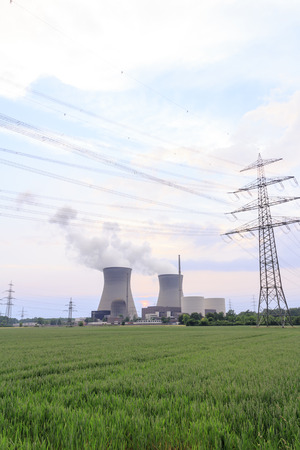 npp: Nuclear power plant with power line Stock Photo