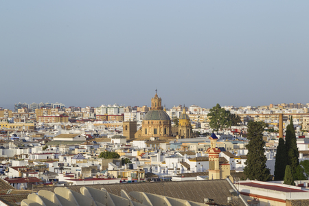 View from the Metropol Parasol over the rooftops of Seville onto the cathedral
