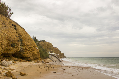 stormy cliffs on the Atlantic coast in Andalusia at high tide