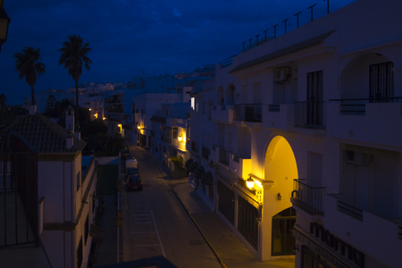 Residential houses at blue hour in spain