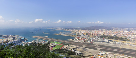 View from the top to the airport of Gibraltar and Algeciras in the background