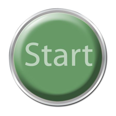 Green button with the word Start Stock Photo