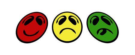 unfriendly: smiley faces - traffic light Stock Photo