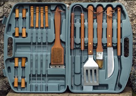 barbecues: Detail of a set of cutlery used for barbecues