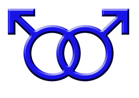 blue symbol of gay men on the white background