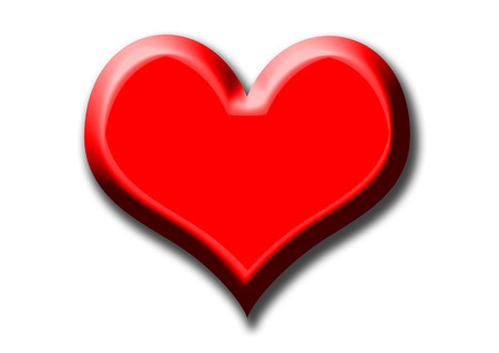 A very big red heart on the white background photo