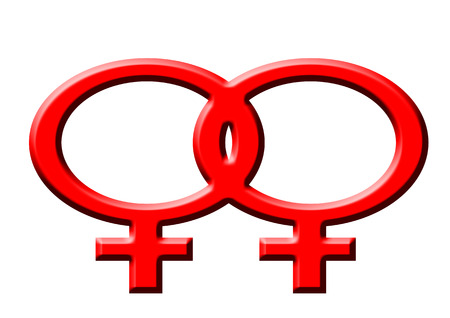 lesbianism: red symbol of lesbian women on the white background