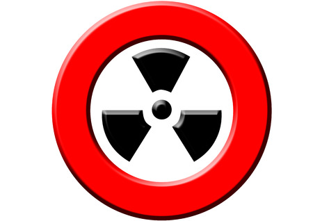 radioactivity: A red sign meaning warning! radioactivity! on the white background