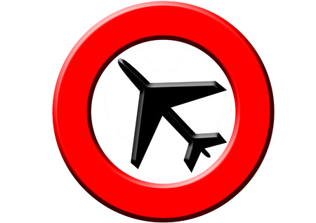 A red sign meaning warning! airplanes! on the white background photo