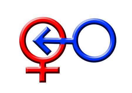 coitus: blue and red symbols of a man and a woman