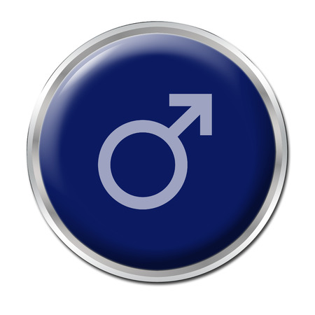 blue button with the symbol of a man, photo