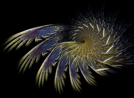 digitally generated: abstract spiral flame on the black background