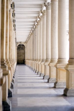 shafts: a spa colonnade with vaulting shafts of marble in Bohemian spa